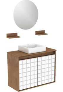 Gabinete Para Banheiro Com Lavatório E Espelheira Carol 70X30Cm Ébano Darabas