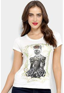 Camiseta Carmim Queen Cat Feminina - Feminino-Off White