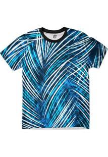Camiseta Bsc Floral Folhas Full Print Masculina - Masculino-Azul