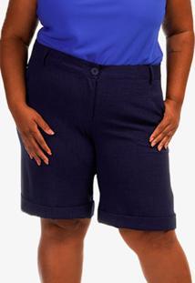 Short Alfaiataria Marina Plus Size Azul Marinho Rodrigo Moura