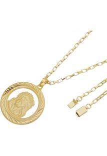 Pingente Face De Cristo Com Corrente Cartier Gaveta Tudo Joias Folheado A Ouro 18K - Masculino-Dourado