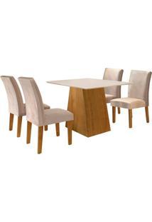 Conjunto De Mesa De Jantar Sevilha Com 4 Cadeiras Classic L Suede Off White E Bege