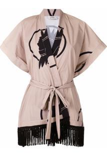 Amir Slama Kimono Índio Com Franjas - Neutro