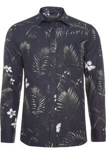 Camisa Masculina Dark Flower - Preto