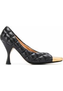 Bottega Veneta Sapato Matelassê Com Cap Toe - Preto