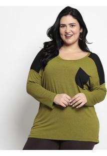 Blusa Lisa Com Bolso- Verde & Pretamelinde