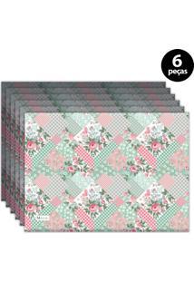 Jogo Americano Mdecore Floral 40X28 Cm Rosa 6Pçs