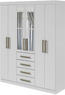 Guarda Roupa Hector Plus 6 Portas Com Espelho Branco