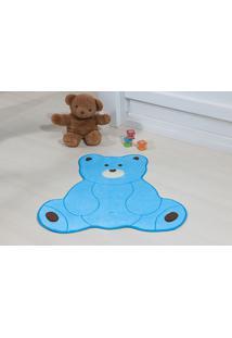 Tapete Antiderrapante Formato Urso Fofo Azul Turquesa 0,74 X 0,70 Cm