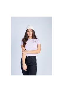 Camiseta Cropped Lilás Dog & Cat Gang Feminina