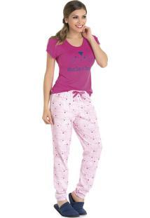 Pijama Feminino Gatinhos Em Viscolycra E Algodão Bela Notte