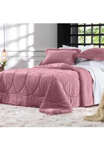 Edredom Solteiro Altenburg Blend Elegance Plush Breeze- Rosa Rosa