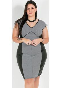 Vestido Plus Size Preto/Brancopied Poule - Cirrê