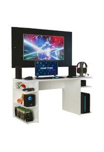 Mesa Gamer Madesa 9409 E Painel Para Tv Até 58 Polegadas Branco/Preto Cor:Branco/Preto