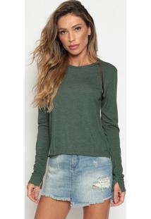 Blusa Lisa Com Recorte - Verde & Pretacalvin Klein