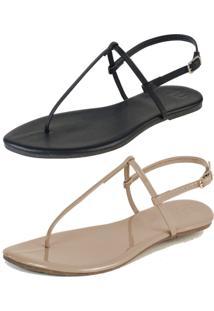 Kit 2 Pares Rasteiras Flat Simples Mercedita Shoes Napa Preto E Verniz Areia