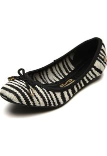 Sapatilha Santa Lolla Zebra Preto/Branco - Preto - Feminino - Dafiti