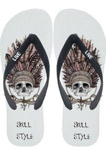 Chinelo Live Skull Style - Masculino-Branco