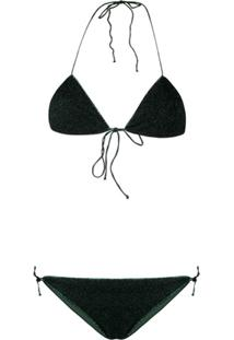 Oseree Halter Neck Lurex Bikini - Verde