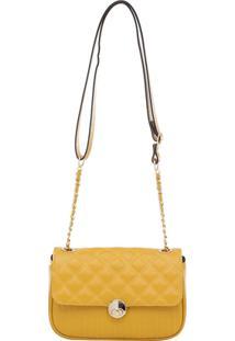 Bolsa Couro Transversal Matelassê - Feminino-Amarelo