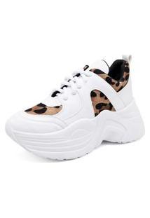 Tênis Sneaker Trivalle Detalhe Onça Em Recorte Com Amarração Branco