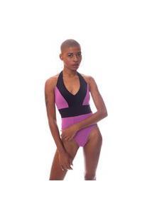 Body Moda Vício Recortes Com Bojo Lilas E Preto