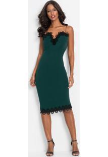 Vestido De Alcinhas Com Renda Verde