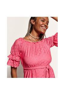 Vestido De Laise Feminino Curto Ombro A Ombro Com Faixa Para Amarrar E Babado Na Manga Pink