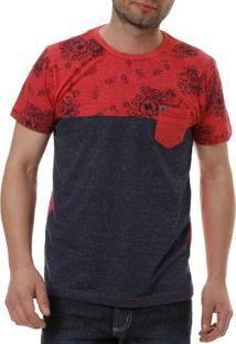 Camiseta Manga Curta Masculina Local Vermelho/Azul