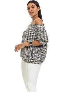 Blusa Clara Arruda Tricot Oversized 20657 Feminina - Feminino-Branco+Preto