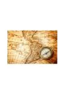 Painel Adesivo De Parede - Mapa Vintage - 502Pn-G