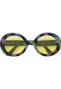 Gucci Eyewear Óculos De Sol Com Listras - Preto