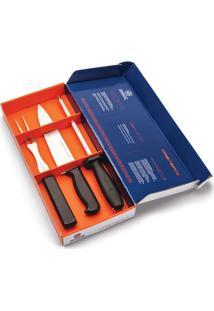 Conjunto Para Churrasco Mundial Master Line Em Inox Com Cabo Plástico Preto 3 Peças