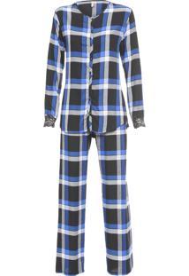 Pijama Feminino Flanela Escócia - Preto
