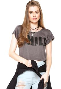 Blusa Manga Curta Clothing & Co. Cropped Chill Preta