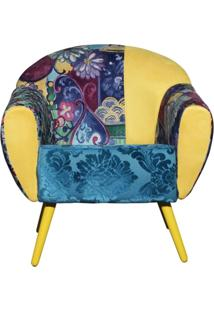 Poltrona Domi Decorativa 01 Lugar Nina Mosaico Com Pés Palito Amarela