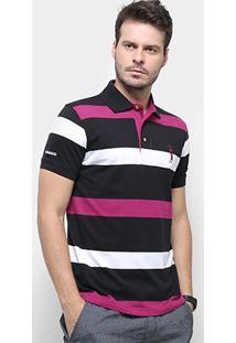Camisa Polo Aleatory Listrada Fio Tinto Masculina - Masculino-Preto+Pink