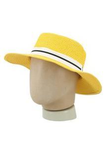 Chapéu Feminino De Palha Chapéu Feminino De Palha Amarelo