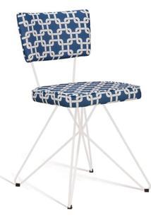 Cadeira Butterfly Retro Branco E Azul