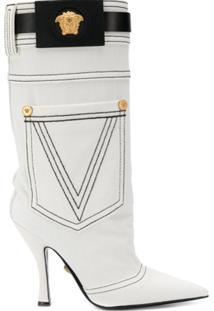 Versace Bota Com Detalhe De Bolso - Branco