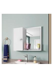 Armário Espelheira P/ Banheiro Gênova Móveis Bechara 1 Porta Branco