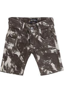 Bermuda Jeans Meketrefe Estampada Bege/Marrom