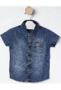 Camisa Jeans Acid Washed- Azul- Bakulelêbakulelê