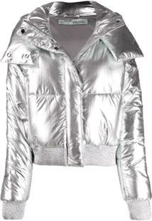 Off-White Jaqueta Matelassê Metalizada - Prateado