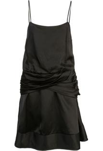 Derek Lam 10 Crosby Vestido Mini De Alcinha Com Drapeado Na Saia - Preto