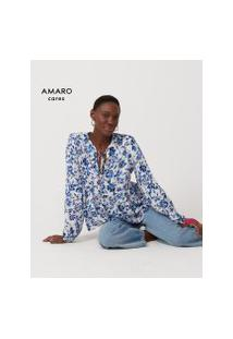 Amaro Feminino Blusa Manga Bufante Estampada, Floral Azulejo