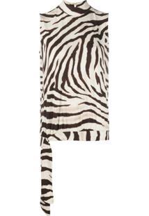 Polo Ralph Lauren Blusa Com Estampa De Zebra E Amarração Lateral - Neutro