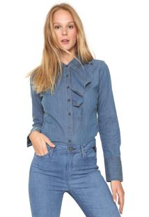 Camisa Jeans Banana Republic Babado Azul