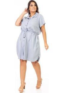 Vestido Jeans Chemisie Manga Curta Plus Size Confidencial Extra Feminino - Feminino-Azul