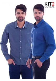 Kit 2 Camisas Slim Fit Live Luxor - Mescla Escuro E Azul Petróleo-G
